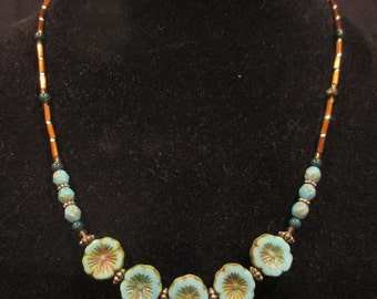 Blue Czech flower necklace with bloodstone and brown bugle beads
