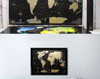 Black World Map, Scratch Off Map, Scratch Off, World Maps, Travel Map World, Map Poster, World Map Of The World,  Scratch World Map