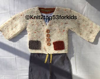 Double Pocket Boys Aran Knitted Cardigan, Toddler Boys cardigan,  Baby boy Cardigan, Baby Boys cardigan With Pockets in Aran