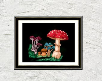 Mushroom art reproduction print