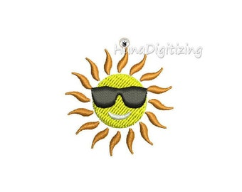 Mini Cute Cartoon Summer Sun Machine Embroidery Design 3 Sizes