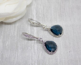 Earrings silver drop blue dark blue marine wedding bride