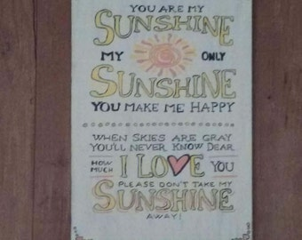 You are my sunshine handmade wooden sign
