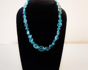 Crystal Necklace. Light blue necklace. Handmade necklace. Handcrafted necklace Gemstone necklace Beaded necklace Gift for her Greek necklace