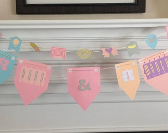 Set of Two (2) Grow With Me Pennant Banners Photo Props Pregnancy Through Bridal Shower