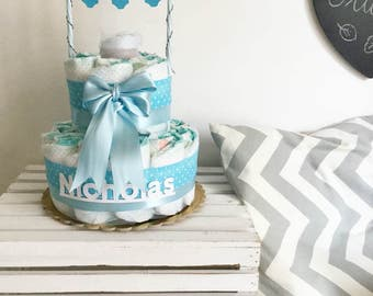 Diaper cake with drying laundry