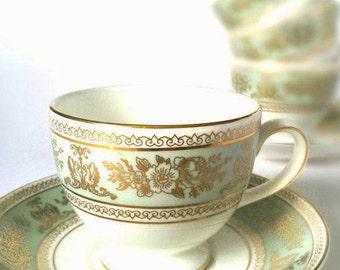RARE Wedgewood Columbia Sage Green Tea Set - A stunning Example - Teacup and Saucer - Vintage Tea Party - Afternoon Tea
