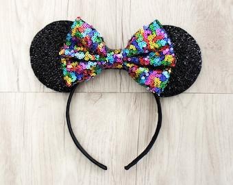 Rainbow Disneyland Ears, Minnie Mouse Ears, Mickey Mouse Ears, Minnie Ears, Mickey Ears, Disney Ears, Rainbow Sequin Bow, Disneyland Ears