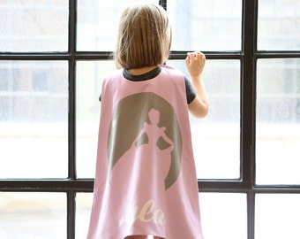 Pink Princess Personalized Superhero Cape - Superhero Party Cape - Girls Birthday - Holiday - Dress Up - Pretend Play - Toddler Capes