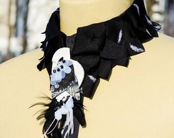 Flightless Bird Collar Necklace Black and white bird Handmade applique