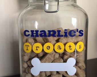 Customized Lock Lid Jar | Pet Treat Jar | Gifts For Pets | Glass Treat Jar | Gifts For Dogs |
