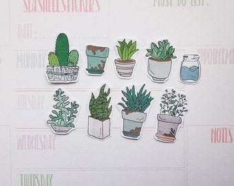 Potted Plants Stickers, planner Stickers, home plant stickers, cactus stickers, plants planner stickers, succulent stickers,