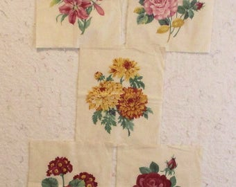 Flower Blocks for Quilting Decorating or Embellishment lot of 5