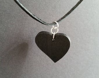 Love Charm Choker Black Heart Necklace Fashion Jewelry Gift for Her Black Wooden Heart Pendant Natural Leather Necklace