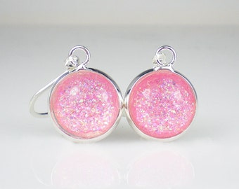 Baby Pink Glitter Nail Polish Earrings Cosmetic Arts Mean Girls Sparkle Jewelry