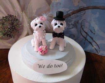 FREE ship, ltd time, Maltese dogs Wedding Cake topper, clay, handmade, dog, custom, we do too, whimsical, pearls, bowtie, tophat, OOAK,