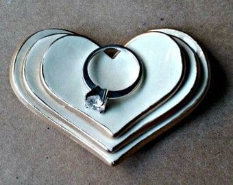 Ceramic Heart Nesting Ring Dishes Off White edged in gold Set of three