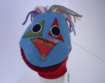 Harlequin bird hand puppet