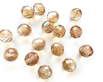50pcs Czech Fire Polish 14mm Big Faceted Round Glass Crystal Beads in Light Topaz Celsian
