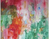 Abstract fine art print, from bright colourful Summer painting, sweet pink, juicy orange, cool green on A4