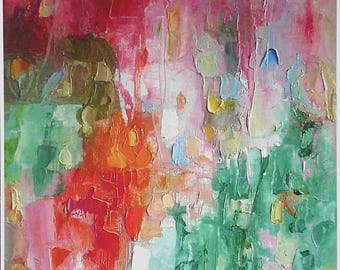 Abstract fine art print, from bright colourful Summer painting, sweet pink, juicy orange, cool green,A6 to A3 size