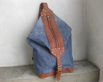 Denim Bag, Cross Body, Denim Shoulder Bag, Denim Backpack, Side Bag, Recycled Bag, Zippered Bag, Man Bag, Women Bag, Leather Strap, Gift for
