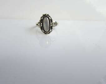 Native American - Southwestern Style Sterling Silver and Mother of Pearl  Ring - Size 7.5    1465