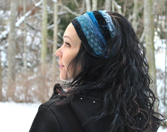 Festival Headband - Hippie Headband - Dread Wrap - Boho Headband - Womens headband - Womens Hair Wrap - Gypsy Headband - Blue Headband -