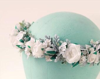 White flower crown, Pastel floral, Boho bridal headpiece, White and sage rose crown, Neutral flower headpiece, Artificial bridal head wreath
