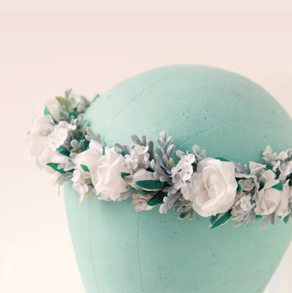 White flower crown, Pastel floral, Boho bridal headpiece, White and sage rose crown, Neutral flower headpiece, Artificial bridal head wreath