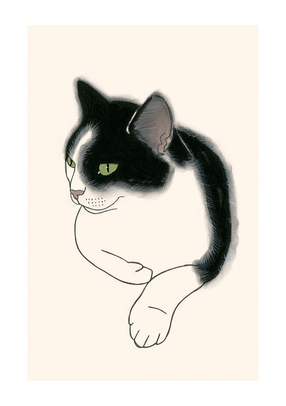"Cat illustration print -  4 for 3 SALE - Taylor  8.3"" X 11.7"""" print"
