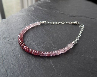 Pink Spinel Bracelet: Sterling silver, natural shaded spinel, ombre jewelry, pink to mauve gemstone, dainty 3.5mm rondelles, 7 inches long