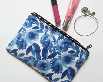Blue Watercolor Floral Canvas Pouch - Bridesmaid Gift, Clutch, Purse, Makeup Case, Pencil Case