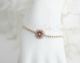 Blush Crystal Bracelet Rose Gold Bracelet Vintage Rose Crystal Bridal Bracelet Soft Pink Bridesmaid Bracelet Wedding Jewelry STUD