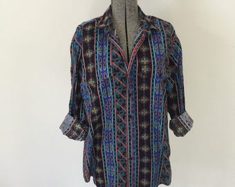 Vintage FRONTIER SERIES Shirt • 1990s Western Wear Clothing • Southwestern Navajo Print Men Women Long Sleeve Medium Large Cotton Button Up