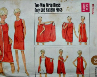 Vintage 60's Butterick 4699 Sewing Pattern, Two Way Wrap Dress, Size Medium 12 - 14, Bust 34-36, Retro/Mod 1960's Fashion
