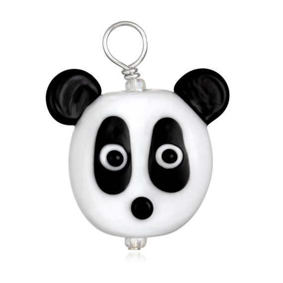 Glass Panda Pendant Necklace on Leather