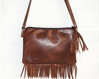 leather fringe purse, small bag, brown leather purse, sling bag, small fringe purse,  brown clutch, handmade, boho, small purse, mini