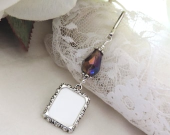 Wedding bouquet photo charm. Small picture frame with crystal teardrop. Bridal bouquet photo charm. Gift for a bride. Memorial photo charm.
