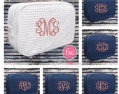 7 bridesmaid makeup bags , waffle makeup bag, monogrammed bag, wedding bag , bridesmaid gifts , personalized bridesmaid gifts