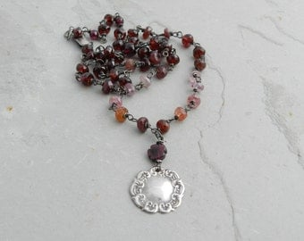 Rose Spinel and Red Garnets and Vintage Sterling Repousse Pendant--Gem & Sterling Silver Artisan Necklace
