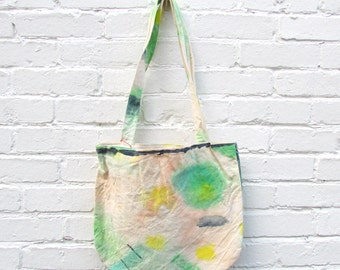 the melon fizz bag .. one of a kind, abstract, hand painted, cotton canvas tote