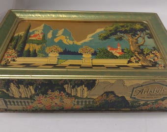 Antique Art Tin Candy Box Parrish Style Scene Bright Graphics 1920's Metal Box #B410 SALE