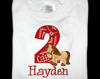 Custom Personalized Applique Birthday Number Minky HORSE and NAME Shirt or Bodysuit - Red Bandana, Brown, and Tan