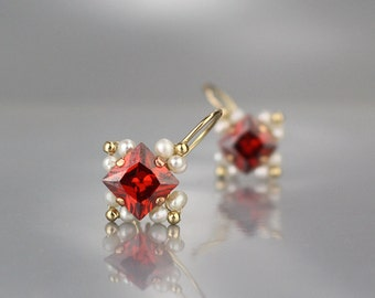 Red Earrings, Red Gifts, Pearl Square Earrings, Pearl Birthstone Earrings, Unique Earrings, Gift for Mom, Red Jewelry, Gift Ideas