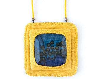Fabric Pendant Necklace in Midnight Blue and Mustard Yellow, Hand Sewn, Beaded