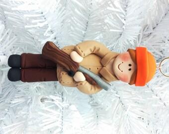Deer Hunter Christmas Ornament - Stocking Stuffer for Hunter - Handmade Polymer Clay Ornament - Gift for Hunter - Gift for Gun Owner -111111