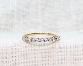 Vintage 14k Rose Gold Diamond Wedding Band or Stacking Ring