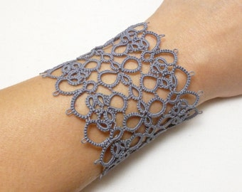 Large Tatted Jewelry Lace Cuff Bracelet -Infatuation wide statement tatting jewelry for formal wear or every day