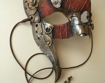 Steampunk Mask Bronze and Red
